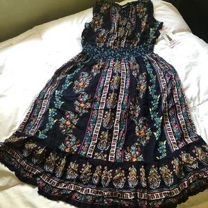 Navy Boho Floral Dress Made in India Size S (NWT)